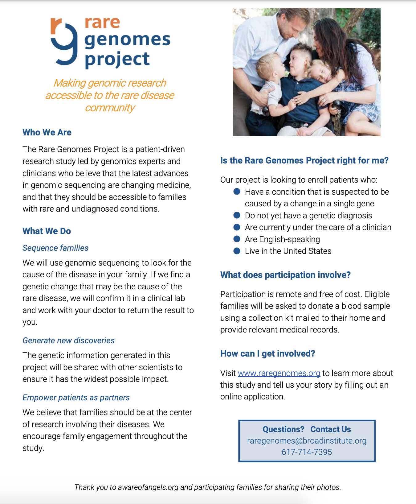 View the Rare Genomes Project Family Flyer